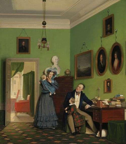 family oil painting waagepetersen families