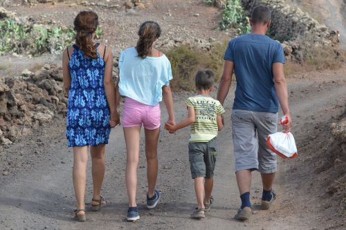 family people hiking