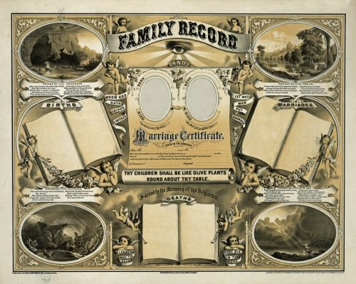 Family Record Marriage Certificate