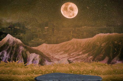 miestas, Šalis, fantazija, mėnulis, kraštovaizdis, kalnai, fonas, pasaka, mistinis, atmosfera, nuotaika, fantazija