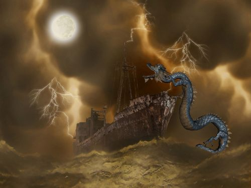 fantasy sea dragon sea