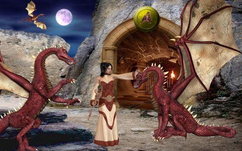 fantasy dragons cave
