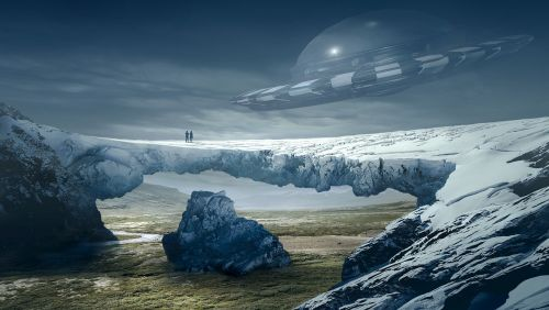 fantasy landscape ufo