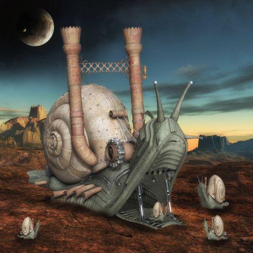 fantasy snails landscape