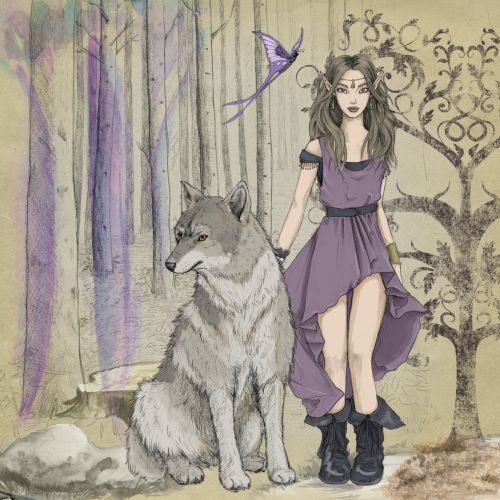 Fantasy Elf With Wolf