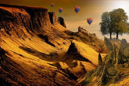 fantazija, kraštovaizdis, kopos, mėnulis, medis, fonas, elfai, fantazijos kraštovaizdis