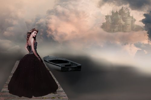fantasy picture woman castle