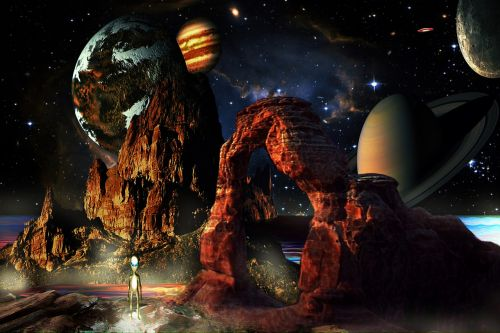 fantasy world space planets