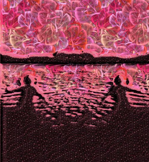 dvyniai, ateis, vanduo, fantazija, simetriškas, rožinis, gėlės, fonas, dažymas, spalvos, fantazija