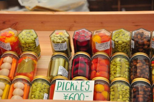 farmers' market pickles colourful