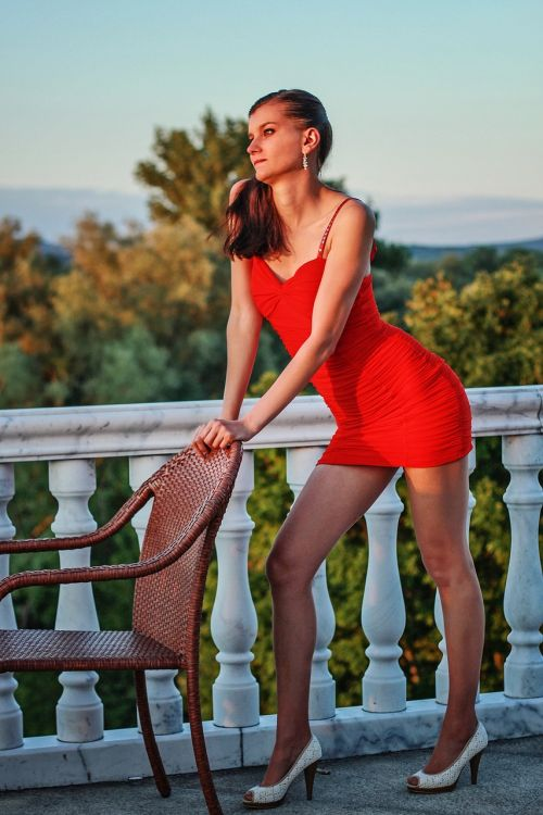 fashion young woman red dress