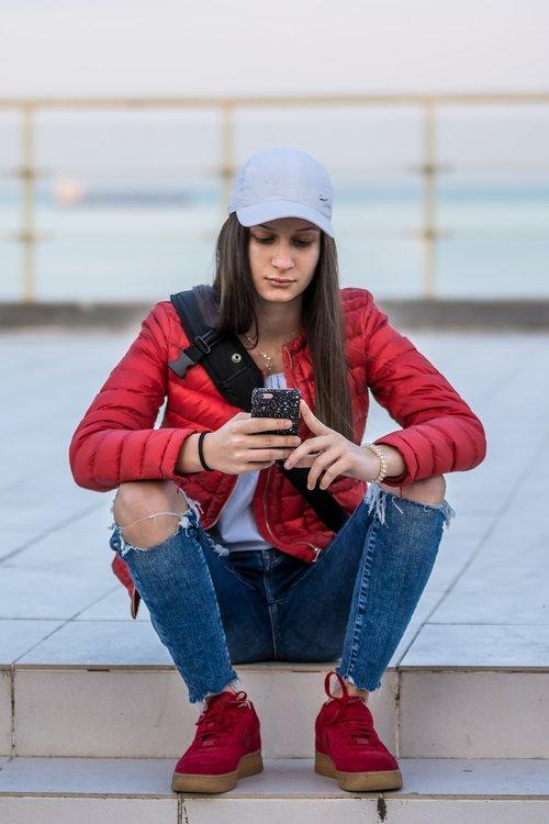fashion  young girl  phone