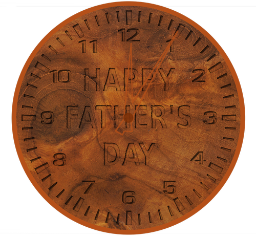 father's day clock  wood grain  wood
