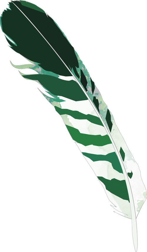 feather green striped