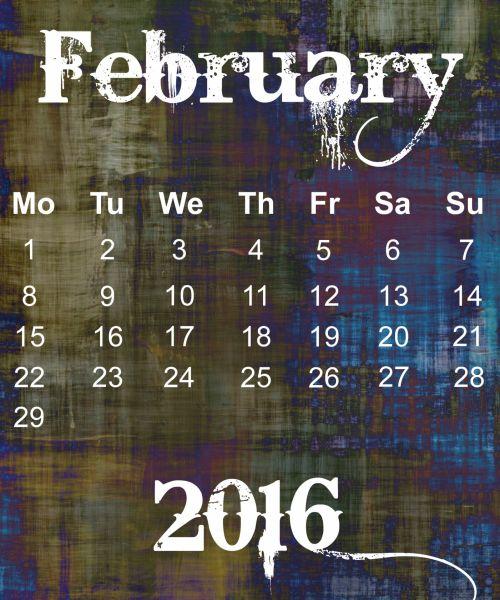 February 2016 Grunge Calendar