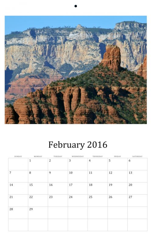 February 2016 Monthly Calendar