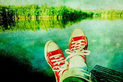 Feet Relaxing Red Sneakers