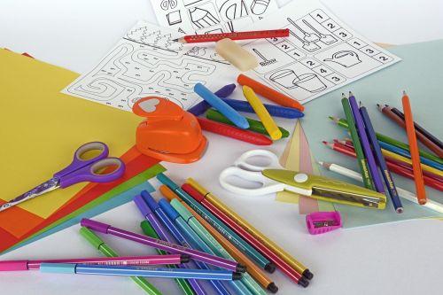 felt tip pens colored pencils crayons