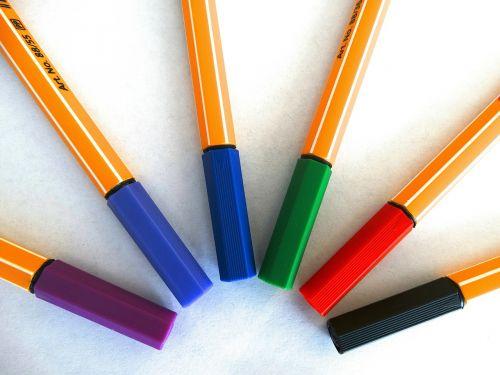 felt tip pens colour pencils color