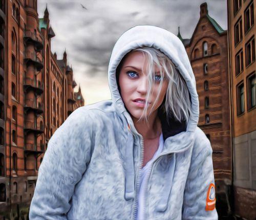 female woman hooded woman