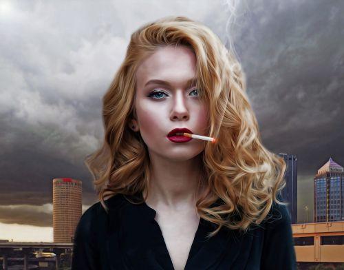 Moteris,moteris,kieta moteris,fatališka moteris,jaunas,patrauklus,seksualus,modelis,glamoras,gyvenimo būdas,portretas,cigarečių,dūmai,miestas,pilkas dangus,rūkymas,rūkanti moteris