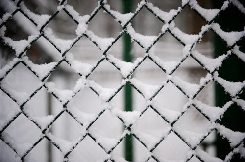 fence metal snow
