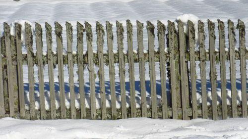 fence snow wood fence