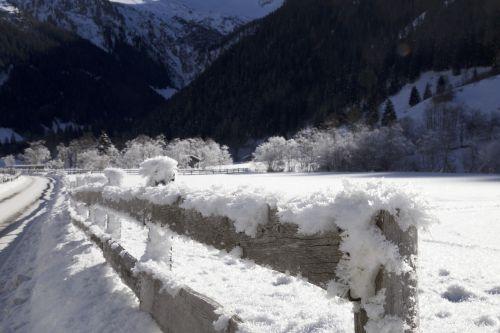 fence winter panorama hoarfrost