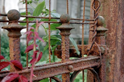 fence stainless old