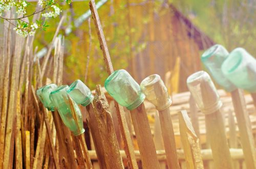 fence glass bottles recycling