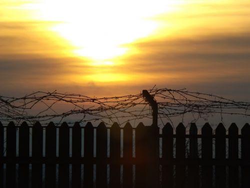 fence sun sky