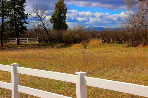 fences mountain landscape