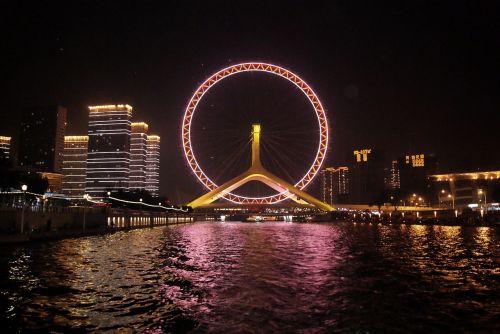 ferris wheel night tianjin