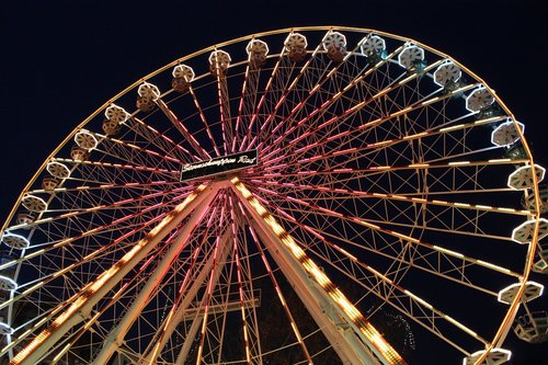 ferris wheel  night  lighting