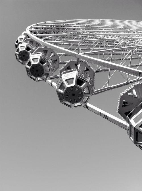 ferris wheel lyon black and white