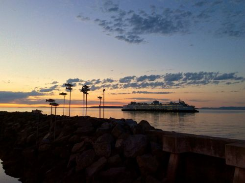 ferry sunset puget sound