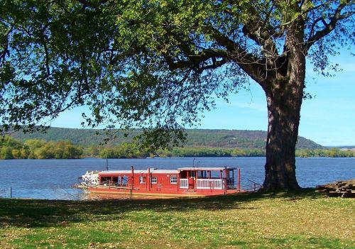 ferry boat river landscape