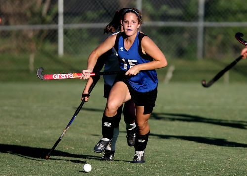 field hockey game action