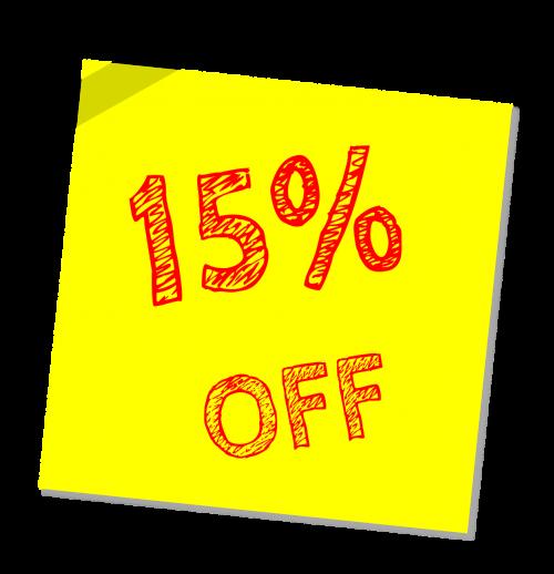 fifteen percent off discount sale