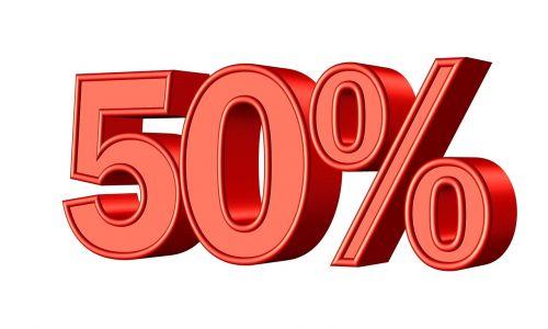 fifty 50 percent
