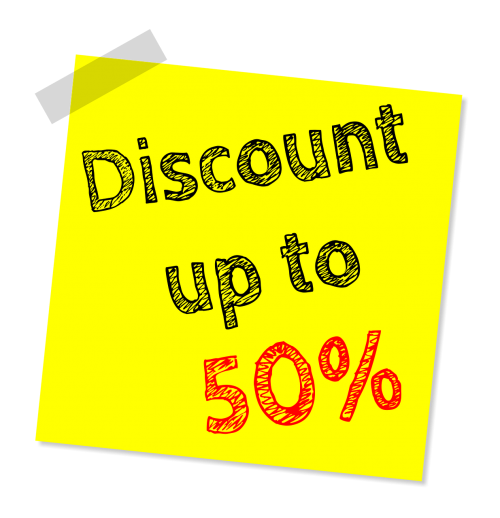 fifty percent sale discount