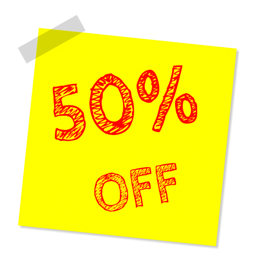 fifty percent off discount sale