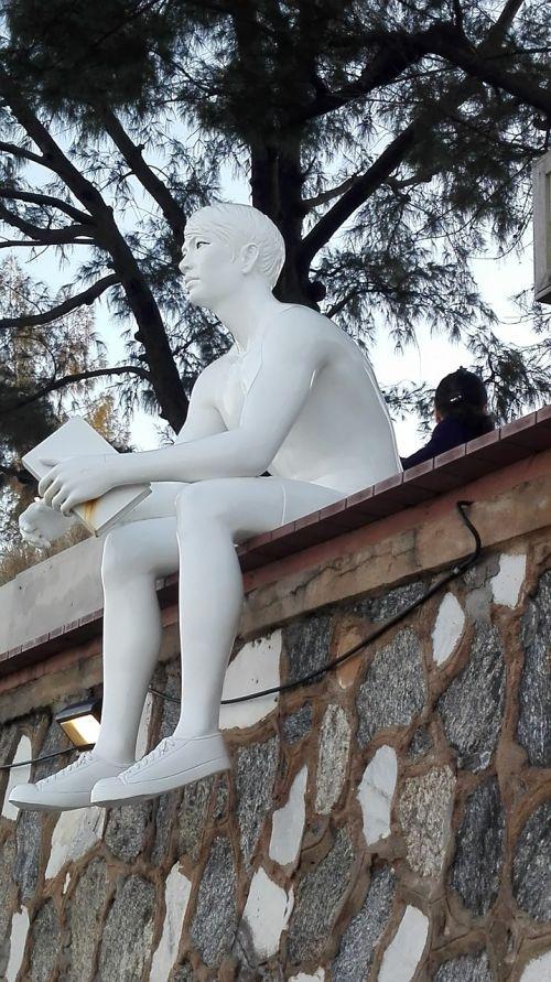 figure man reading a book