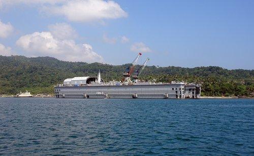 filoating dock  north bay  andaman sea