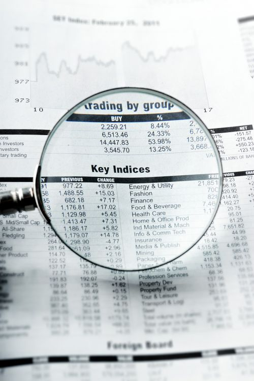 financial newspaper page newspaper analyzing