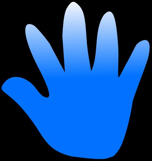 fingers palm blue