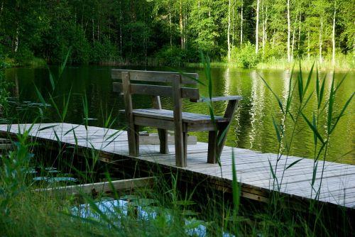 finland lake bench