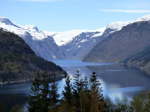 fjordas,Norvegija,kalnas,sniegas,vanduo,mėlynas,Skandinavija,fjordas,kraštovaizdis,kelionė,turizmas,gamta,ekskursijos,vaizdingas,lauke