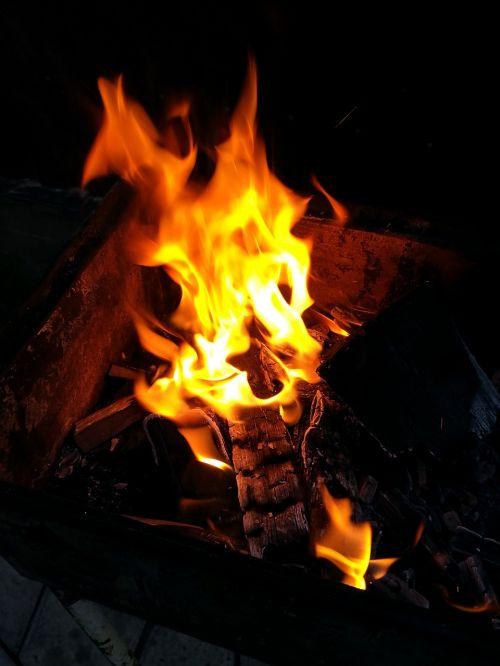 Ugnis,laužas,liepsna,anglis,vasara,malkos,šiluma,kibirkštis
