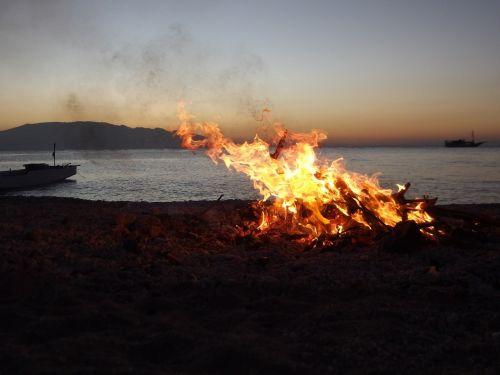 fire bonfire beach